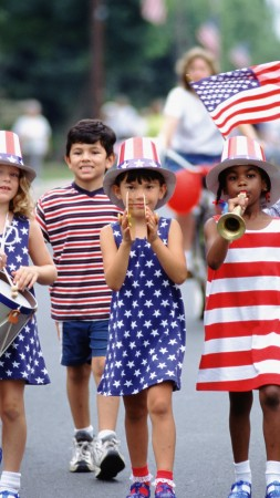 Independence Day, USA, fourth of July, Glorious fourth number, event, flag, parade, children,  (vertical)