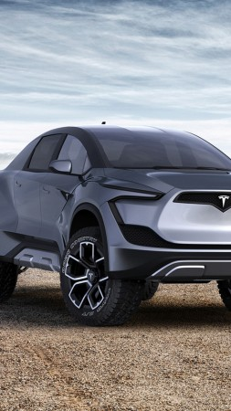 Tesla Pickup Model P, SUV, electric cars, 4K (vertical)