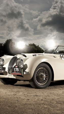 Jaguar XK120, classic cars, Jaguar, retro, sports car, cabriolet, XK100, 1950 (vertical)