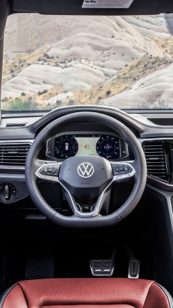 Volkswagen Atlas Cross Sport R-Line, interior, SUV, 2020 Cars, 4K (vertical)