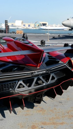 Lamborghini Veneno, supercar, Lamborghini, sports car, limited edition, aircraft, runway, back (vertical)