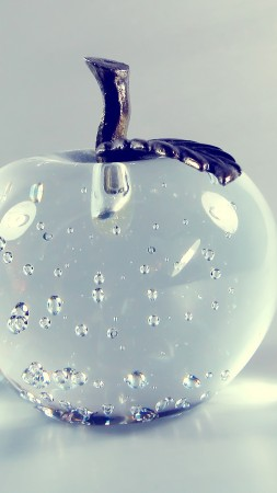 apple, 4k, HD wallpaper, glass, transparent (vertical)