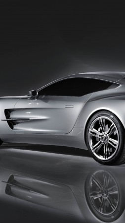 Aston Martin One-77, supercar, Aston Martin, limited edition, luxury cars, sports car, silver, back, side (vertical)
