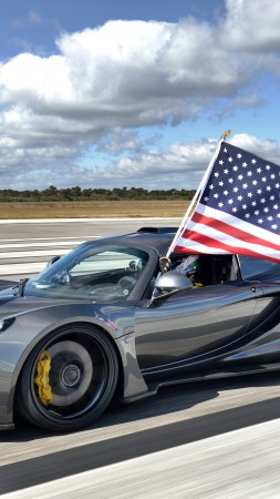 Hennessey Venom GT, supercar, Hennessey Performance Engineering, roadster, Lotus Exige, World's Fastest Edition, test drive, speed, USA, flag (vertical)