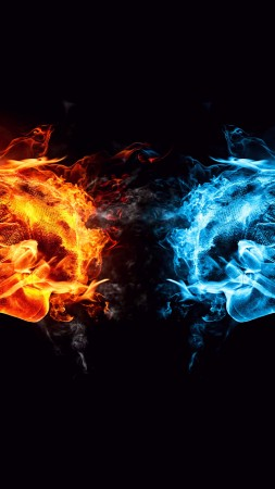 hands, fight, kick, orange, blue, fire