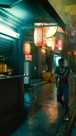 Cyberpunk 2077, screenshot, 4K (vertical)