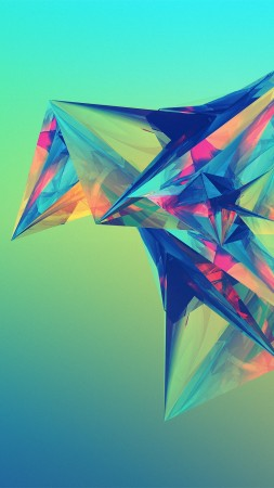polygon, 4k, HD wallpaper, green, orange, blue, background (vertical)