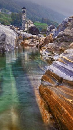 mountains, river, rocks, 4K (vertical)
