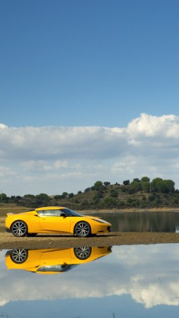 Lotus Evora S, supercar, Lotus, sports car, luxury cars, review, nature, yellow, test drive, buy, rent (vertical)