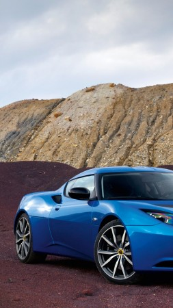 Lotus Evora S, supercar, Lotus, sports car, mountain, luxury cars, blue, review, test drive, buy, rent (vertical)