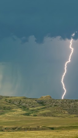 Grasslands National Park, Saskatchewan, Canada, lightning, sky, clouds, 4K (vertical)