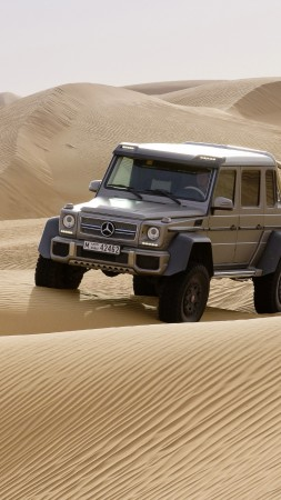 Mercedes-Benz G 63 AMG 6x6, SUV, Mercedes, Brabus G 63 700, G-Class, off-road, luxury cars, test drive, desert (vertical)