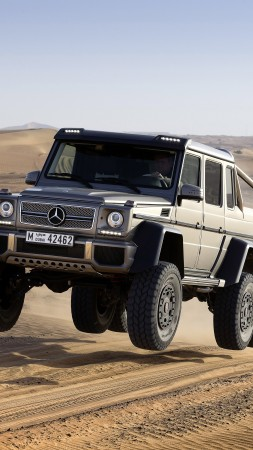 Mercedes-Benz G 63 AMG 6x6, SUV, Mercedes, Brabus G 63 700, G-Class, off-road, luxury cars, test drive, speed, desert (vertical)