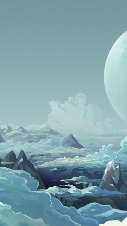 mountains, clouds, planets, snow