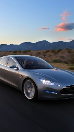 Tesla Model S, electric cars, Tesla Motors, speed, road, review, front, test drive (vertical)