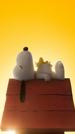 The Peanuts Movie, cartoon, film, movie, dog, puppy, yellow, sleep, Bill Melendez, Snoopy, Noah Schnapp, Charlie Brown, Best Animation Movies of 2015 (vertical)