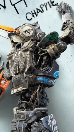 Chappie, Best Movies of 2015, robot, wallpaper (vertical)