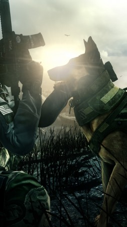 Call of Duty Ghosts, game, shooter, soldier, dog, rifle, CoD, Ghosts, multiplayer, screenshot (vertical)