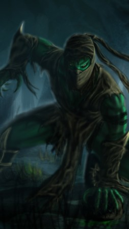 Mortal Kombat, game, fighting, Reptile, fan art, forest, Ents, mist, swamp, art (vertical)