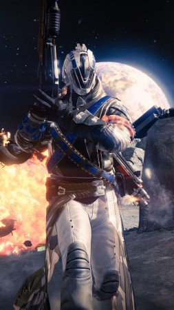 Destiny, game, MMOFPS, sci-fi, space, weapon, planet, gun, soldier, Exo, blue, screenshot (vertical)