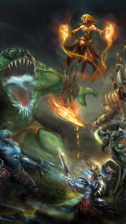 Dota 2, game, characters, hero, monster, fantasy, art, fire, ice, Magic, Lightning, battle, fan art, ShadowFiend, Faceless Void, Sven, Lina, Tiny, Razor, Viper, TideHunter, Crystal Maiden, Juggernaut (vertical)