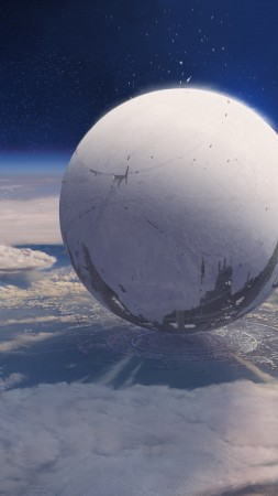 Destiny, game, MMOFPS, sci-fi, space, sphere, planet, spaceship, Exo, blue, screenshot (vertical)