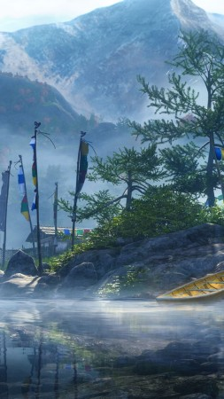Far Cry 4, game, open world, Adventure games, shooter, Kyrat, Himalayas, mountain, Tibet, boat, lake, screenshot (vertical)