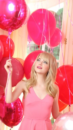 Emma Stone, Most Popular Celebs in 2015, actress, balloons, pink, blonde