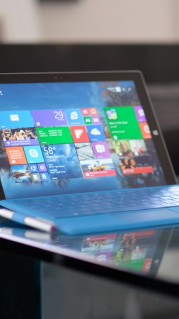 Microsoft Surface Pro 3, tablet, Gen 3, laplet, Intel, table, blue, interface, review (vertical)