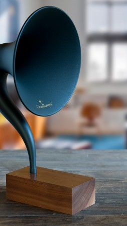 Gramovox, bluetooth, gramophone, music, sound, blue, room, nostalgia (vertical)