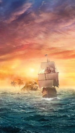 pirate ship, sea, ocean, sunset, skull, land