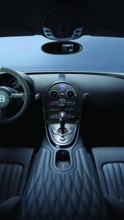 Bugatti Veyron Super Sport, interior, supercar, Bugatti, sports car, Veyron, test drive, speed, speed record, black (vertical)