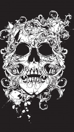 scull, black, tatto, decor (vertical)