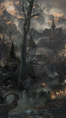 Bloodborne, gameplay, review, screenshot, interface, game, Yharnam, Best Games of 2015, city, darkness, fog (vertical)