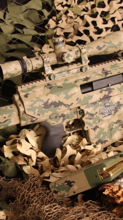 Bushmaster BA50, sniper rifle, carbine, scope, ammunition, camo, MIL-STD-1913, .50 BMG (vertical)