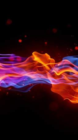 fire, 4k, 5k wallpaper, blue, red, violet, background (vertical)