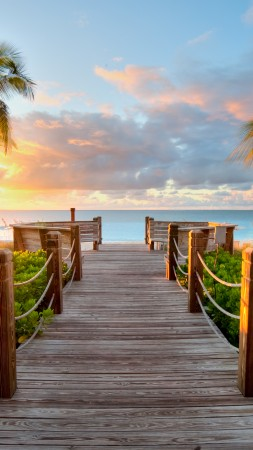 Turks and Caicos Islands, 5k, 4k wallpaper, Best beaches of 2017, tourism, resort, vacation, travel, clouds, sky, sea, ocean, palms (vertical)