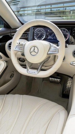 Mercedes-Benz S 65 AMG, luxury cars, sports car, interior, test drive, review, white (vertical)