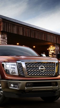 Nissan Titan, XD, 2015 cars, Detroit, SUV, hybrid, ecosafe, review, test drive, front, red (vertical)
