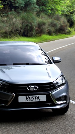 Lada Vesta, Kalina, sports car, city cars, review, test drive, 2015 cars, front, side (vertical)