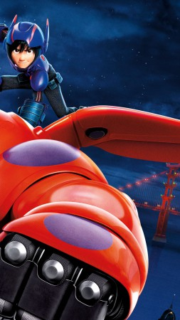 Big Hero 6, cartoon, Baymax, Hiro Hamada, flight, superhero, review, 3D, watch, HD, Best Animation Movies of 2015 (vertical)