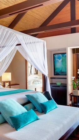 Maldives Water Villa, Best Hotels of 2015, tourism, travel, resort, vacation, Lux, bed, blue (vertical)