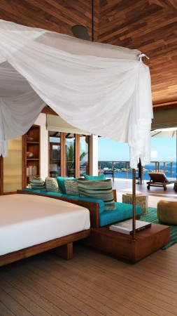 Maldives Water Villa, Best Hotels of 2015, tourism, travel, resort, vacation, Lux, bed, blue, booking (vertical)