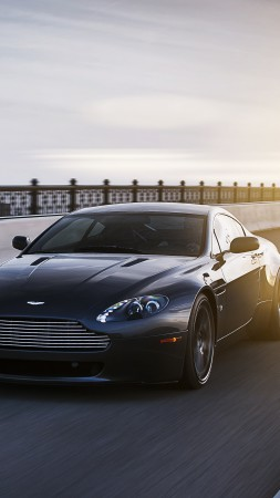 Aston Martin Vantage, sports car, V12, v8, Zagato, silver, review, test drive, speed, black (vertical)