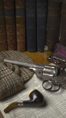 antique revolver, classic pistol, books, bullets, gunpowder (vertical)