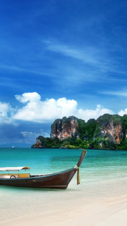 Krabi Beach, HD, 4k wallpaper, Thailand, Best Beaches in the World, tourism, travel, resort, vacation, sand, boat, sky, World's best diving sites (vertical)