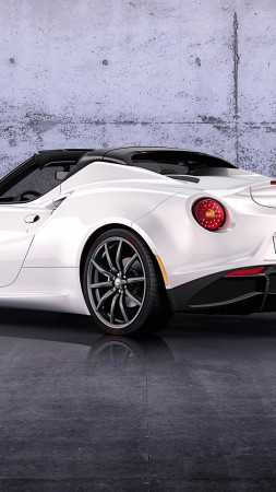 Alfa Romeo 4C, Spider, Best Cars 2015, sports car, luxury cars, test drive, white, back (vertical)