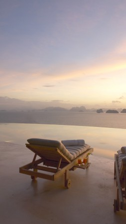 Six Senses Yao Noi, Koh Yao Noi, Eco, The best hotel pools 2017, tourism, travel, resort, vacation, pool, sunset, sunrise, sunbed, sky (vertical)