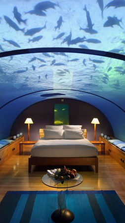 Conrad Maldives Rangali Island Hotel, Best Hotels of 2015, tourism, travel, resort, vacation, Underwater Hotel Room, aquarium, bed, fish, booking (vertical)
