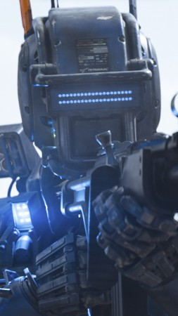 Chappie, Best Movies of 2015, wallpaper, robot, police, gun (vertical)